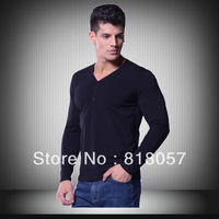 Hot-selling Personalized 2013 y01Male  long-sleeve T-shirt  chromophous blue  Man T-Shirt  XXXXXXL