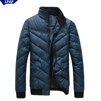 2013 male winter stand collar slim wadded jacket men's clothing casual solid color down wadded jacket male