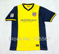 Free Shipping 13-14  Thailand quality  Atletico de Madrid away Football Jersey with LFP patch  yellow Soccer Jersey only shirt