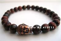 Mens Red Tigers Eye Tibetan Buddha Bracelet