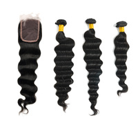 Wigiss 1pc front lace closure +3pcs brazilian loose deep wave hair 10''-24'' natural black Color hair extension H6006AZ+H6008AZ