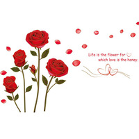 Hot Selling 2013 3d Wall Stickers Home Decor Rose flower Lovers Decoration environmental PVC Free Shipping