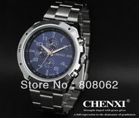 Free ship! stainless steel QUARTZ Men's Watches Chronograph waterproof pointer display Luminous wrist Watch 2013 new style