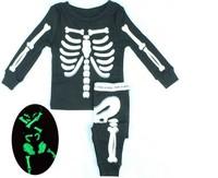 2014 New Children Boys Girls Halloween Pajamas skeleton Sleepwear + Pants 2pcs Sets Glow In Dark Size 2Y