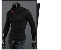Mens Casual Premium Slim Fit Stylish Long Sleeves Polo Shirts Tops T-Shirt New