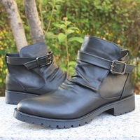 2014 New leather high quality men punk boots army shoes boots male boot fashion elevator metal edition shoes men Free shippping