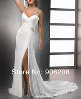 2014 Free Shipping  White Backless Strapless Evening Party Long Dress Formal Gowns Prom Ball Wedding