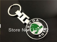 New Skoda Fabia Octavia Superb Yeti Rapid Metal Chrome Car Key Ring Fob Keyring Free Shipping