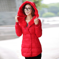 2013 slim double breasted winter thermal thickening coat medium-long down female cotton-padded jacket
