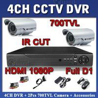 4CH Full D1 H.264 Standalone Network 1080P DVR 2pcs 700TVL Outdoor DSP IR Cut IR Camera VIdeo CCTV System Kit Free Shipping