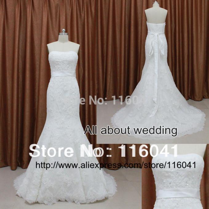 Strapless Mermaid Lace camada frisada vestidos de noiva 2014 grátis frete fábrica Real Photo Exquisit estilo(China (Mainland))
