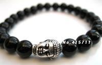 AB-010 Mens Tibetan Buddha Bracelet - Black Onyx Beads, Mens Yoga Mala Bracelet