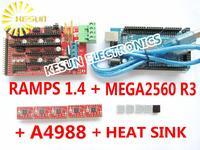 Free shipping Mega2560 R3 + RAMPS 1.4 Controller + A4988 Stepper Driver Module + Heat Sink for 3D Printer kit Reprap MendelPrusa