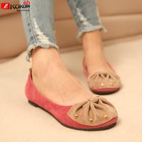 free shipping Autumn rivet bow flat heel casual flat shoes low single shoes fashion female shoes