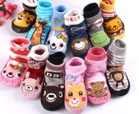 Children socks baby floor socks slip-resistant socks leather sole towel socks with rubber soles thickening knee-high socks