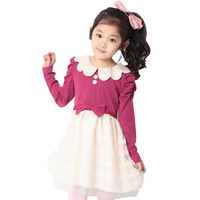 Children's clothing female child 2013 spring one-piece dress child princess dress puff sleeve polka dot tulle dress