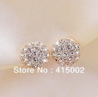 TS ITALINA Full Rhinestone Round Rose Gold Multi-color Stud Earring Free Shipping D214