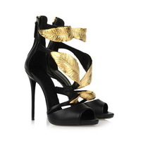 New 2014 gold leaf anke wrap high heel sandals sexy designer women dress shoe summer girl pumps