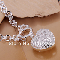 LH062 Fashion 925 Silver Plated 5 MM Chain Imitation Dimaond Heart Key Bracelets & Bangles Items Jewelry Accessories For Women