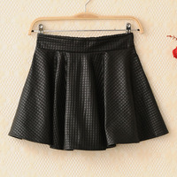 Autumn and winter pleated leather skirt bust skirt elastic waist plaid black short skirt female check