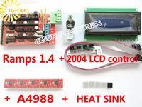 Free shipping 2004 LCD + RAMPS 1.4 Controller + A4988 Stepper Driver Module + Heat Sink for 3D Printer kit Reprap MendelPrusa