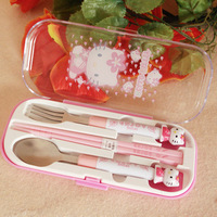 2Sets/lot Lovely Ddcat Hello Kitty Dinnerware Set Spoon+Fork+Chopsticks Kid Baby Gift Cartoon Tableware Cutlery Set Picnic