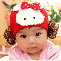 2013 baby hat baby polka dot bow rabbit wig cap female child ear protector cap