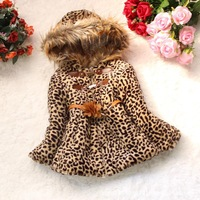 2013 autumn and winter new  Bear children girls hooded jacket,leopard leather buckle long-sleeved wool sweater-hoodies 6071