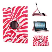 7.9 inch Zebra Print 360 Degrees Rotating Stand Leather Smart Case for mini iPad  free shipping