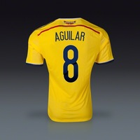 Free Shipping World Cup 13-14 New Arrival Colombia home AGUILAR #8 soccer jersey top thailand quality jersey soccer