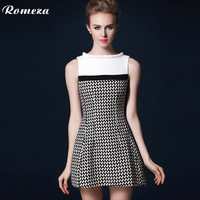 Romeza 2013 o-neck sleeveless houndstooth woolen princess one-piece dress
