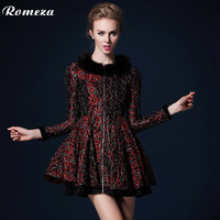 Romeza 2013 autumn fashion mink hair o-neck mid waist long-sleeve slim elegant one-piece dress