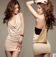 G & Star Fashion Free shipping 2014 New Women's Mini Sexy Sequin V-neck Sleeveless Dress Party Clubwear Skirt Dress
