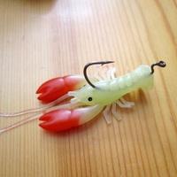 Free shipping, 30pcs high quality, 5CM/3.6G hooked shrimp 3D Ultra soft shrimp lure bait type luminous soft bait lures, cheap