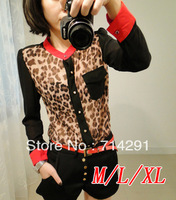 Mouse over image to zoom          New Fashion Women Chiffon Cheetah Blouse Top shirts Long Sleeve Leopard Shirt