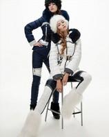 Hot!Europe Brand Fashion Winter Women High Quality Fur Collar Patchwork Warm Down Jackets Designer  Down Parkas F15160
