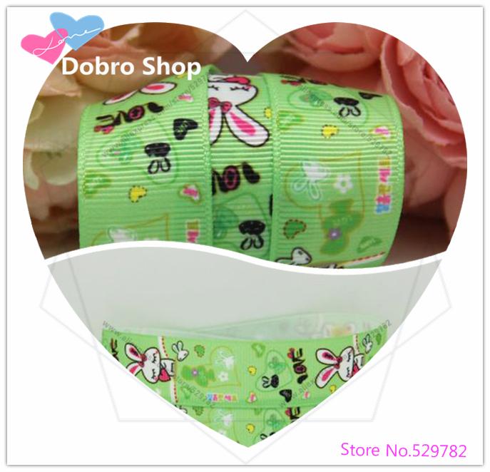 "Newest 7/8"" 22MM Cute Cartoon Green Love Rabbit Printed Grosgrain Ribbon,Tape for Hari/Garment Accessories,100 Yards/lot(China (Mainland))"