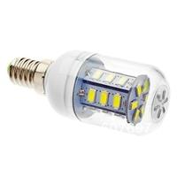 E14 4.5W 400lm 3500K 27-SMD 5730 LED Warm White Light Lamp Bulb - White + Silver (AC 220~240V)