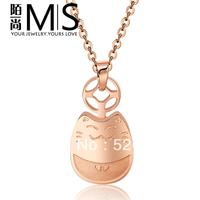 Lucky totoro necklace 18k rose gold female colnmnaris titanium gift