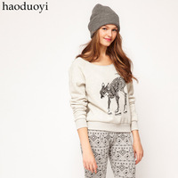 Haoduoyi bow skiing deer pattern print Light gray o-neck sweatshirt pullover  Free Shipping