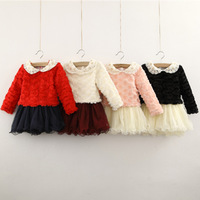 2013 autumn and winter lace girls dress child thickening berber fleece one-piece dress ,high quality dress free shipping
