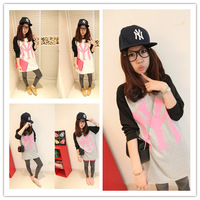 Autumn new arrival 2013 women's loose Iotion school wear long design basic shirt long-sleeve t-shirt female
