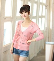 Autumn women's embroidered butterfly short cardigan all-match sweater casual sweater outerwear new arrival 2013