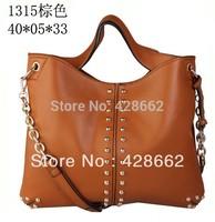2015 New pu leather women's handbag pigskin all-match basic tote bag women leather handbags Free Shipping
