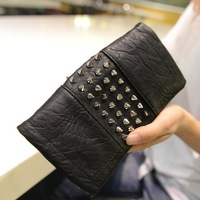 Female wallet long design wallet fashion women rivet bag zipper day clutch tote bag 185f32