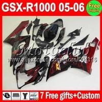 NEW For SUZUKI GSXR1000 K5 red flames 05-06 05 06 GSX R1000 GSXR 1000 red black 2005 2006 477 GSX-R1000 K5 Fairings +7gifts