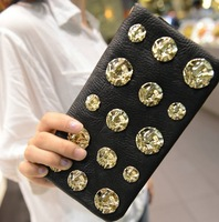 2013 fashion flower rivet women's long design wallet al-18f35