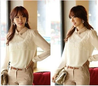 Korean ladies long-sleeved white bottoming shirt 5 Size doll collar lace Tops sale shirt Chiffon Blouse Free Shipping XT004