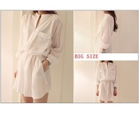 Korean Autumn women chiffon shirt white long-sleeved shirt bottoming blouse big yards L Chiffon Blouse Free Shipping XT002
