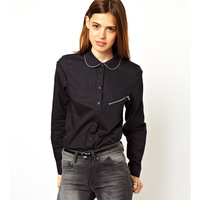 Haoduoyi zipper decoration border black single zipper pocket female long-sleeve autumn and winter shirt  Free Shipping
